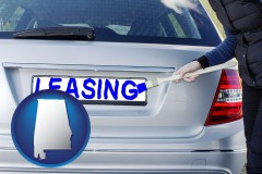 Alabama - silver car with LEASING painted in blue