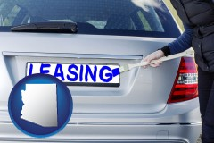 Arizona - silver car with LEASING painted in blue