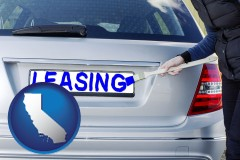 California - silver car with LEASING painted in blue