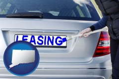 Connecticut - silver car with LEASING painted in blue