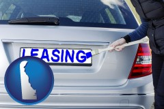 Delaware - silver car with LEASING painted in blue