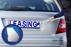 Georgia - silver car with LEASING painted in blue