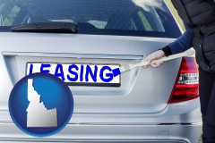 Idaho - silver car with LEASING painted in blue