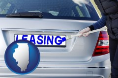 illinois silver car with LEASING painted in blue