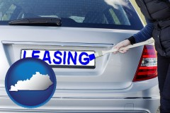 Kentucky - silver car with LEASING painted in blue