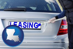 Louisiana - silver car with LEASING painted in blue