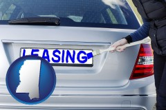 Mississippi - silver car with LEASING painted in blue