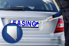 Nevada - silver car with LEASING painted in blue
