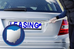 Ohio - silver car with LEASING painted in blue