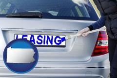 Pennsylvania - silver car with LEASING painted in blue
