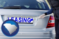 South Carolina - silver car with LEASING painted in blue