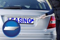 Tennessee - silver car with LEASING painted in blue