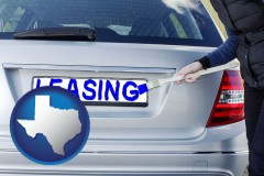 Texas - silver car with LEASING painted in blue
