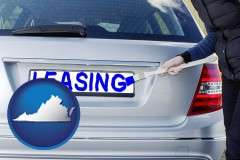 Virginia - silver car with LEASING painted in blue