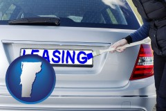Vermont - silver car with LEASING painted in blue