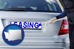 Washington - silver car with LEASING painted in blue