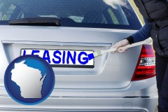 Wisconsin - silver car with LEASING painted in blue
