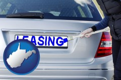 West Virginia - silver car with LEASING painted in blue